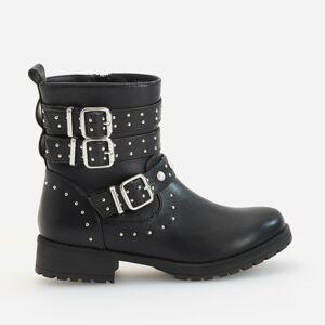 Reserved - Zateplené členkové topánky s perlami - Čierna
