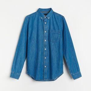 Reserved - Denimová košeľa slim fit - Modrá