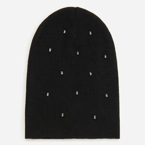 Reserved - Čierna čiapka beanie s kryštálmi - Čierna