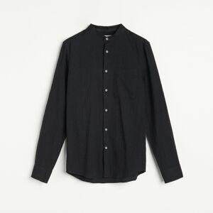 Reserved - Košeľa slim fit so stojačikom - Čierna