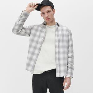 Reserved - Kockovaná košeľa regular fit - Svetlošedá