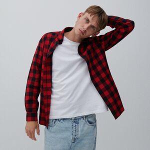 Reserved - Kockovaná košeľa regular fit - Červená
