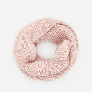 Reserved - Komín z prúžkovaného úpletu s perlami - Ružová