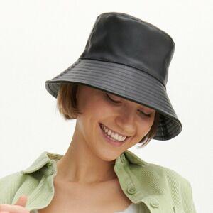 Reserved - Klobúk typu bucket z umelej kože - Čierna
