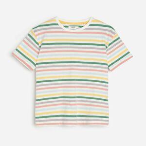 Reserved - Pásikavé tričko z organickej bavlny - Krémová