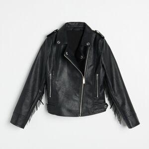 Reserved - Motorkárska bunda so strapcami - Čierna