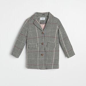 Reserved - Károvaný kabát s prímesou vlny - Čierna