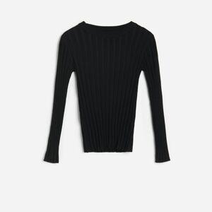 Reserved - Prúžkovaný pletený sveter - Čierna
