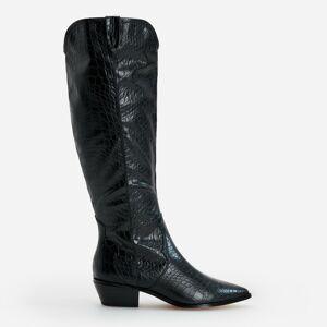 Reserved - Čižmy nad kolená s efektom krokodílej kože - Čierna