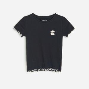 Reserved - Bavlnené tričko saplikáciou - Čierna