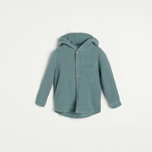 Reserved - Bavlnená košeľa s kapucňou - Tyrkysová