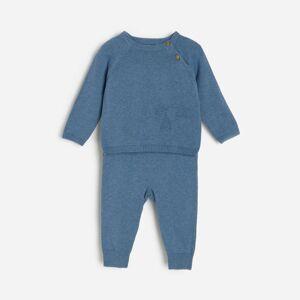 Reserved - Úpletové pyžamo z organickej bavlny - Tmavomodrá