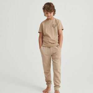 Reserved - Bavlnené teplákové nohavice - Béžová