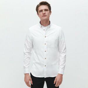 Reserved - Štruktúrovaná bavlnená košeľa - Biela