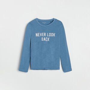 Reserved - Bavlnené tričko s dlhými rukávmi a potlačou - Modrá