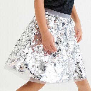 Reserved - Flitrovaná sukňa - Strieborná