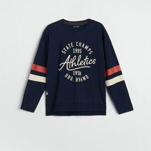Reserved - Bavlnené tričko s potlačou - Tmavomodrá