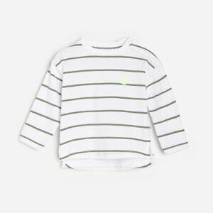 Reserved - Bavlnené pásikavé tričko s dlhými rukávmi - Biela