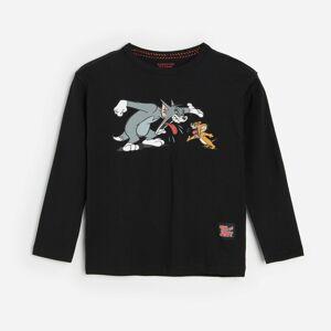 Reserved - Tričko s dlhými rukávmi a potlačou Tom & Jerry - Čierna