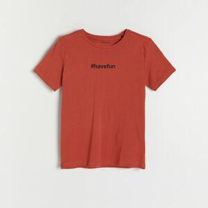 Reserved - Bavlnené tričko s nápisom - Červená