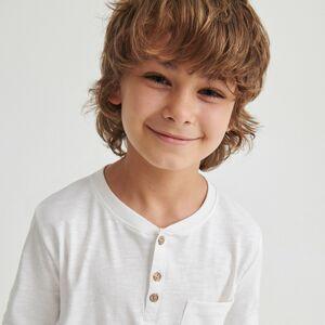 Reserved - Bavlnené tričko s dlhými rukávmi - Krémová