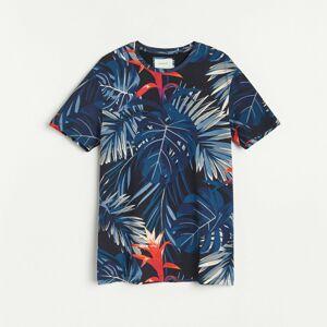 Reserved - Tričko s rastlinnou potlačou - Tmavomodrá