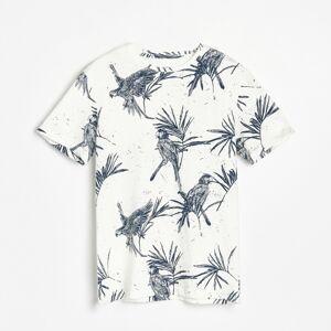 Reserved - Bavlnené tričko s potlačou s motívom papagájov - Krémová