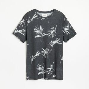 Reserved - Tričko s kvetinovým motívom - Čierna