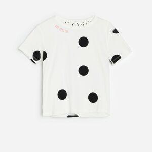 Reserved - Bavlnené bodkované tričko - Krémová