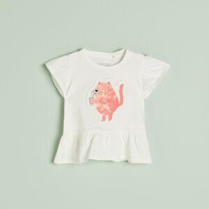 Reserved - Bavlnené tričko s volánom a potlačou - Krémová