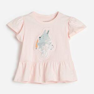 Reserved - Bavlnené tričko s volánom a potlačou - Ružová