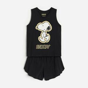 Reserved - Pyžamo so šortkami Snoopy - Čierna