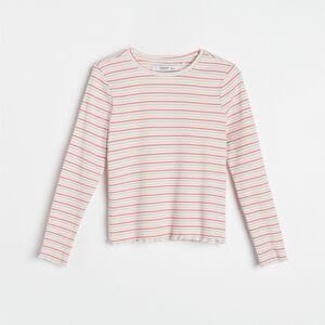 Reserved - Pásikavé tričko s dlhými rukávmi - Ružová