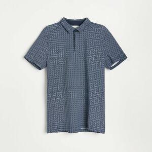 Reserved - Tričko polo s mikropotlačou - Tmavomodrá