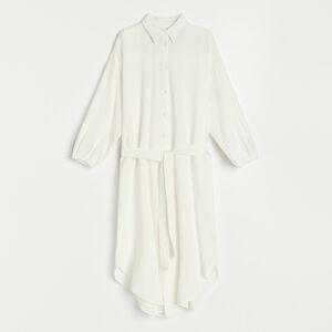 Reserved - Oversize košeľové šaty - Krémová