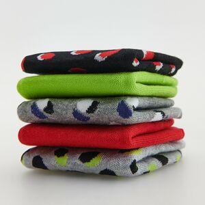 Reserved - Súprava 5 párov vzorovaných členkových ponožiek - Červená