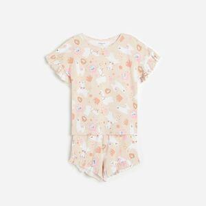 Reserved - Bavlnené pyžamo s potlačou - Krémová