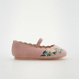 Reserved - Balerínky s výšivkou - Ružová