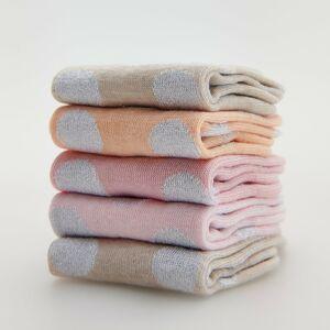 Reserved - Súprava 5 párov farebných bodkovaných ponožiek - Krémová