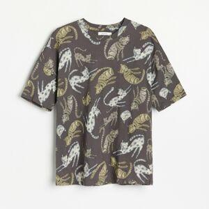 Reserved - oversize bavlnené tričko - Šedá