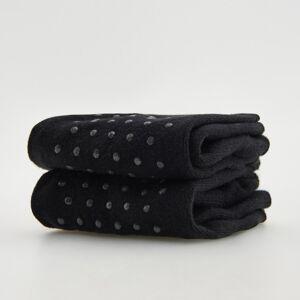 Reserved - Súprava 2 párov protišmykových bavlnených ponožiek - Čierna