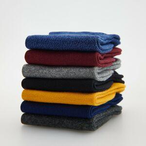 Reserved - Súprava 7 párov bavlnených farebných členkových ponožiek - Žltá