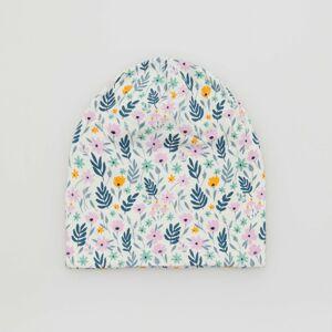 Reserved - Kvetinová bavlnená čiapka beanie - Krémová