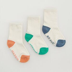 Reserved - Súprava 3 párov ponožiek z organickej bavlny - Krémová