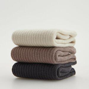 Reserved - Súprava 3 párov bavlnených ponožiek - Krémová