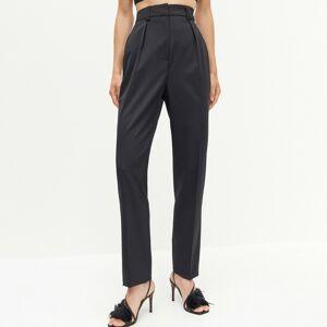 Reserved - REDESIGN Klasické nohavice s prímesou vlny - Čierna