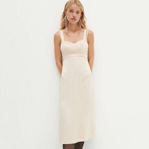 Reserved - REDESIGN Saténové bielizňové šaty - Krémová