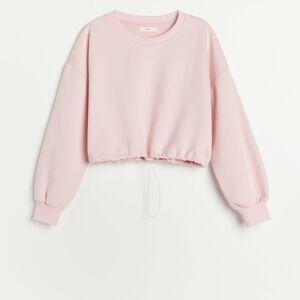 Reserved - Teplákový úpletový pyžamový top - Ružová