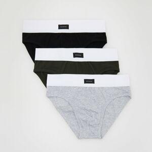 Reserved - Súprava 3 bavlnených slipov - Khaki