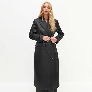 Reserved - REDESIGN Dlhý saténový kabát - Čierna